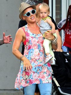 "Pink  The ""So What"" singer and her daughter, Willow, 13 months, chose light summer colors for an outing in New York City's Tribeca neighborhood."