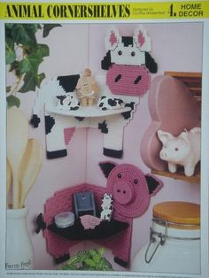 ANIMAL CORNERSHELVES - COW AND PIG plastic canvas PATTERNS for KnickK…