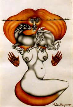 Desert Fox (1980) 340 x 230mm. pen, black ink and burnt sienna. Courtesy of the Estate of Vali Myers