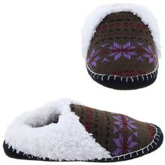 Tan and Purple Knit Moccasin Slippers for Ladies L/9-10 TruFit. $13.99