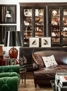 Masculine room with beautiful cabinet of curiosities Masculine Living Rooms, Masculine Room, Masculine Interior, Living Room Designs, Living Spaces, Small Living, Living Vintage, Cabinet Of Curiosities, Natural Curiosities