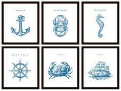Nautical Nursery Decor - Set of 6