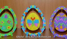 Easter Eggs hama perler beads by Rachel - Mes Petits Bonheurs Melty Bead Patterns, Pearler Bead Patterns, Perler Patterns, Beading Patterns, Diy Perler Beads, Pearler Beads, Fusion Beads, Iron Beads, Melting Beads