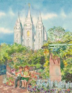 A painting of a boy and girl sitting on a bench at Temple Square surrounded by flowers and trees, with the Salt Lake Temple in the background.