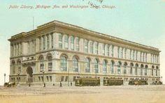 CHICAGO – CHICAGO PUBLIC LIBRARY – STREETCARS ON MICHIGAN – WAGON ON WASHINGTON – 1908