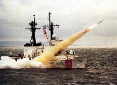 "USCGC ""MELLON"" (WHEC-717) Is a (378') Hamilton Class High Endurance Cutter - Launching a Harpoon Missile in 1990"