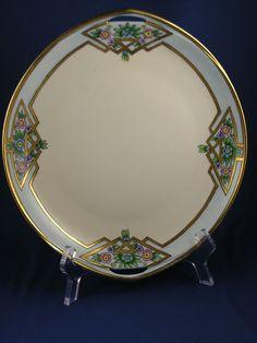 """Rosenthal Donatello Bavaria Arts & Crafts Floral Design Handled Serving Plate (Signed """"I. Krause""""/c.1907-1930)"""