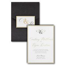 Ampersand Hearts Layered Pocket Wedding Invitation Icon Pocket Invitation, Pocket Wedding Invitations, Online Fonts, Reception Card, Foil Stamping, Response Cards, White Envelopes, Wedding Cards, Color Schemes