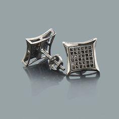 Black Diamond Stud Earrings 0.31ct Sterling Silver