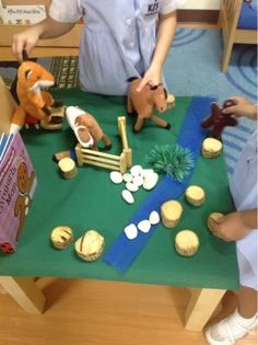 """Story Sacks from Play Based Inquiry - this was is for The Gingerbread Man ("""",) blue cloth, green cloth, etc"""