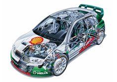 Skoda Fabia WRC rally car - cutaway