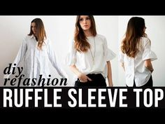DIY ruffle sleeve top refashion from dress shirt - YouTube
