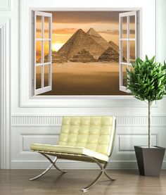 Vinyl window Pyramids of Giza. Vinyl that simulates a window, in which we can see the pyramids of Cheops, Kephren and Micerino. Barcelona Chair, Window Wall, Wall Stickers, Room Inspiration, Windows, Bedroom, Creative, Modern, Warhol