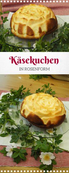 Käsekuchenrezept in Rosenform. Super locker fluffiger Käsekuchen ohne Boden in der Rosenbackform gebacken. Den Kuchen könnt Ihr zu einem Geburtstag oder auch für Muttertag - Valentinstag backen.