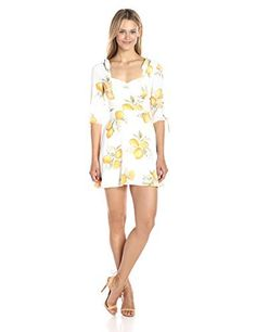 For Love & Lemons Women's Limonada Mini Dress Rayon crepe lemon print mini dress with ties at elbow, knotted shouler ties, and tailored waist yokeSuper flattering fit with flared hemlineLined, invisible zipper  Dresses, outfits, outfits for girls, outfits for school, outfits for winter 2017, outfits for women, outfits with jeans and boots, strapless dresses
