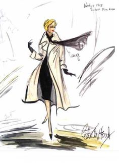 Edith Head sketch of Kim Novak in Vertigo (1958)