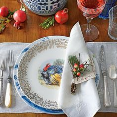 The Glam Pad: A Blue and White Southern Living Thanksgiving - transferware table setting