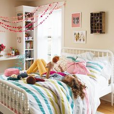The Land of Nod | Kids Beds: Kids White Spindle Jenny Lind Bed in Beds