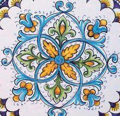 Decorazione per la mattonella di ceramica #Italy http://ceramicamia.blogspot.it/2011/04/la-differenza-tra-ceramica-e-maiolica.html