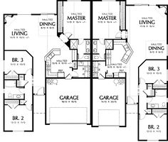 Main Floor Plan of Mascord Plan 4028 - The Eagleton - Vaulted Kitchen and Corner Fireplace Duplex Floor Plans, House Floor Plans, Family House Plans, Best House Plans, Floor Plan Drawing, Traditional Style Homes, Duplex House Design, Multi Family Homes, Outdoor Kitchen Design