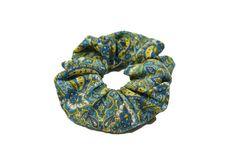 """blue paisley print cotton scrunchie by TheScrunchiePuss - 22"""""""