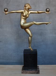 "A stunning Art Deco French bronze figure by Marcel-Andre Bouraine, circa 1925, ""Jongleuse""."
