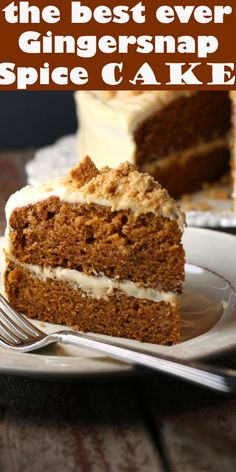 Gingersnap Spice Cake Gingersnap Spice Cake Every Thanksgiving, my whole extended family on my mom's side gets together to celebrat. Spice Cake Recipes, Healthy Dessert Recipes, Delicious Desserts, Delicious Cookies, Halloumi, Food Cakes, Cupcake Cakes, Cupcakes, Coliflower Recipes