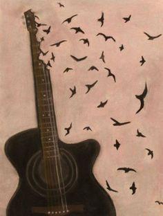 Guitar birds painting