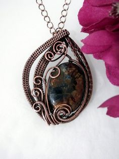 Unique Wire Wrap Jewelry Pietersite Pendant by PerfectlyTwisted, $55.00