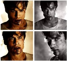 Damon is still hot while covered by a layer of dirt and blood.
