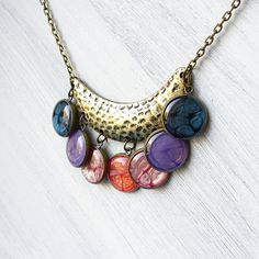 Bib Boho Necklace  Colorful Bubble Statement by StudioLadybird, $32.00