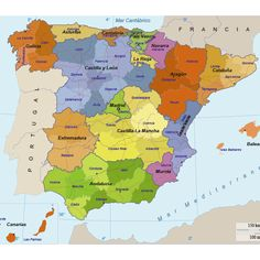 mapa-politico-espana Ap Spanish, Spanish Culture, Map Of Spain, Geography Map, Happy Sabbath, Bible Knowledge, Giza, Birds Eye View, Teaching Spanish