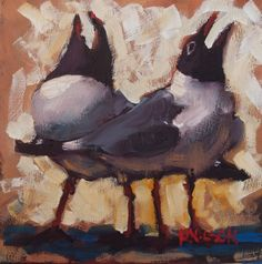 Laugh it up Seagulls, painting by artist Rick Nilson