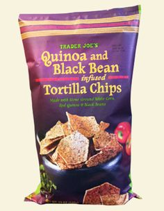 Quinoa & Black Bean Tortilla Chips. From Trader Joe's! Gluten free, vegan and low sodium. Cooked with lime and seasoned with sea salt. Yummm!