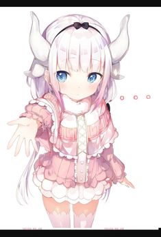 bangs black ribbon blue eyes blush capelet closed mouth cowboy shot dragon horns eyebrows visible through hair hair ribbon highres horns kanna kamui kobayashi-san chi no maidragon long hair long sleeves looking at viewer low twintails niito o Anime Neko, Kawaii Anime Girl, Loli Kawaii, Anime Art Girl, Anime Girls, Anime Style, Kamui Kobayashi, Kanna Kamui, Desu Desu