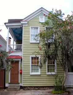 19 Anson St., Charleston SC  In the South of Broad neighborhood in Charleston, built in 1894. Salvaged wood from renovation made in to tables by Landrum Tables.