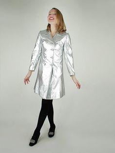 mod 60s vintage metallic silver vinyl raincoat