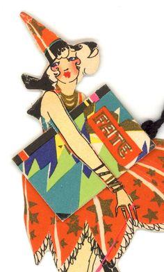 Darling Buzza Halloween Themed Tally Card Holder c.1925