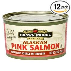 Crown Prince Natural Alaskan Pink Salmon, No Salt Added, 7.5-Ounce Cans (Pack of 12), (salmon, low sodium, crown prince, canned fish, no salt salmon, omega 3, protein, gourmet food, adhd, heart)