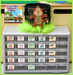 """These toolbox drawers are perfectly for storing """"jungle animals"""" that students earn through our classroom behavior management system!"""