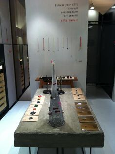ATTA Gallery  concrete table with iron legs