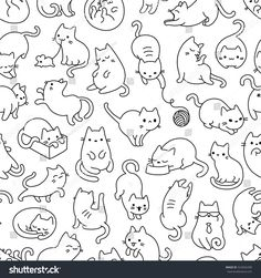 cat icon Cute Cartoon Cat Vector Icons, Seamless Pattern And Background Gato Doodle, Doodle Art, Cat Outline, Cat Icon, Cat Paws, Cat Drawing, Vector Pattern, Pattern Art, Cute Cartoon