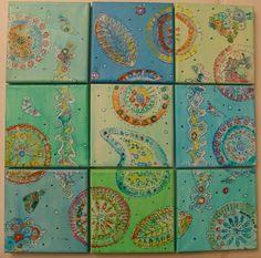 Acrylmalerei - Ornamente-Variationen (9-teiliges Set) - ein Designerstück von Anewa bei DaWanda