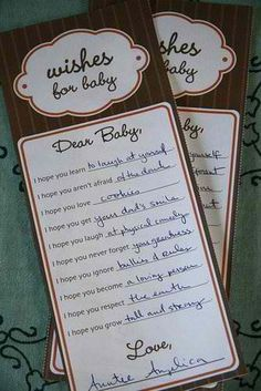 """""""Dear Baby"""" Baby Shower Activity = I want to make a fill-in-the-blank card for everyone at the baby shower to fill out while playing the song """"I Hope You Dance"""" By: LeAnn Womack http://www.youtube.com/watch?v=RV-Z1YwaOiw . Later make into a cute bedtime story book =)"""