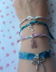 Selection of hand made Liberty ribbon bracelets from Mums Jewellery Shed on Facebook