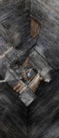 Alexander Kindlen, The Maelstrom // The Descent, analogue & digital mixed media, 2014.