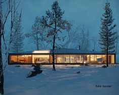 This lovely contemporary house, designed by MJMA Architects, is situated nearby Clear Lake in Canada. Both design and site are great inspiration.This is still WIP and overall concept is to add few angles, depending on the season. Canada House, Haus Am See, Casas Containers, 3d Architectural Visualization, Clear Lake, Lake Cottage, Forest House, Cabins In The Woods, Modern House Design