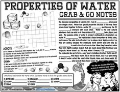 Grab-and-Go Notes: Properties of Water Science Education, Printable Worksheets, Thing 1 Thing 2, Bond, Knowledge, Notes, Student, Content, Easy