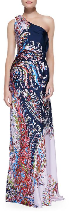 Carolina Herrera Printed Satin One-Shoulder Gown, Navy/Multi $3,690 $2,214