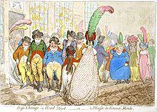 In Gran cambio en Bond Street,—o—la Politesse du Grande Monde (1796), James Gillray caricaturizaba la falta de etiquette en un grupo de hombres que observaban lacivamente a una mujer.